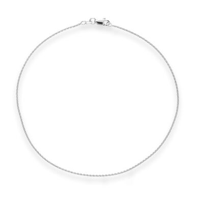 14kt White Gold Wheat Chain Anklet, , default