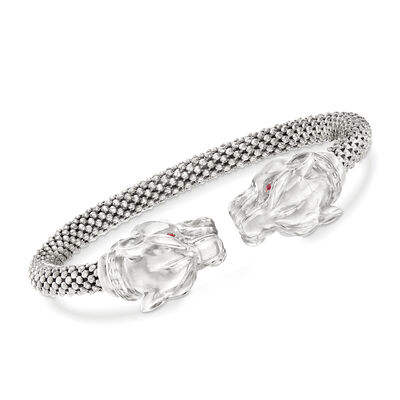 Italian Sterling Silver Double Panther Head Cuff Bracelet, , default