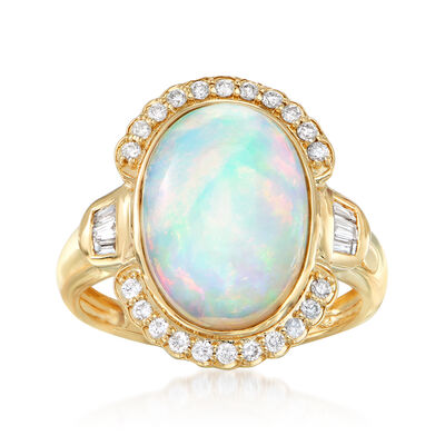 Ethiopian Opal and .30 ct. t.w. Diamond Ring in 14kt Yellow Gold