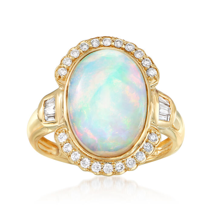 Ethiopian Opal and .30 ct. t.w. Diamond Ring in 14kt Yellow Gold. Size 7, , default