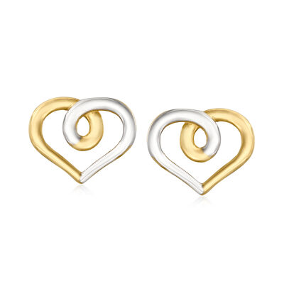 14kt Two-Tone Gold Open-Space Heart Earrings