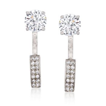 1.75 ct. t.w. CZ Stud and Bar Front-Back Earrings in Sterling Silver , , default