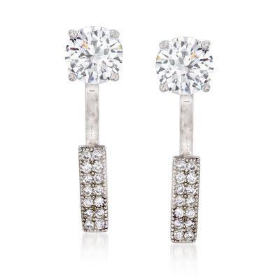 1.75 ct. t.w. CZ Stud and Bar Front-Back Earrings in Sterling Silver, , default