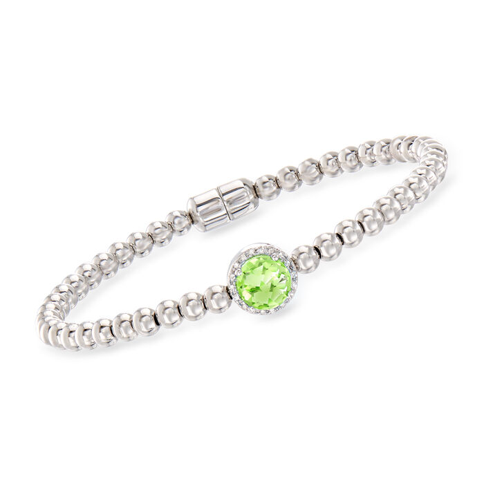 1.30 Carat Peridot Beaded Bracelet in Sterling Silver with Magnetic Clasp, , default