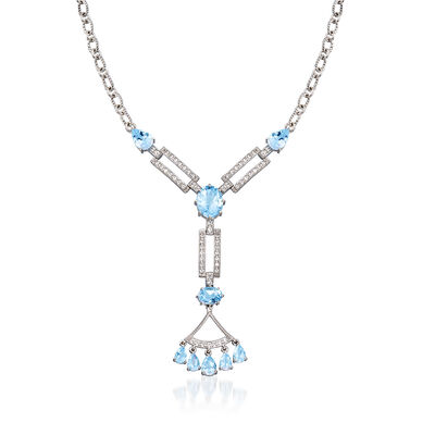12.30 ct. t.w. Sky Blue Topaz and .60 ct. t.w. White Topaz Necklace in Sterling Silver