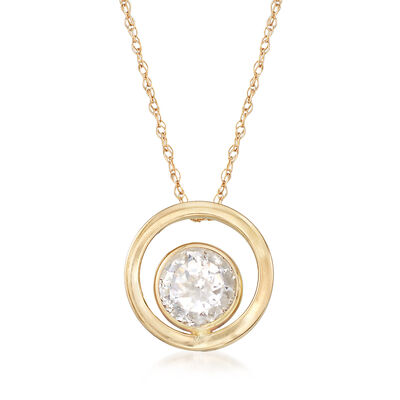 .85 Carat CZ Double Circle Pendant Necklace in 14kt Yellow Gold, , default