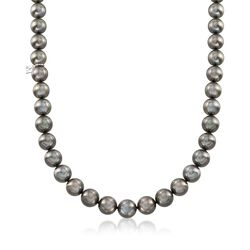 Mikimoto 8.4-10.8mm A+ Black South Sea Pearl Necklace With 18kt White Gold and Diamond Accent, , default