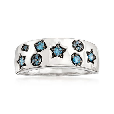 .25 ct. t.w. Blue Diamond Multi-Shape Ring in 14kt White Gold, , default
