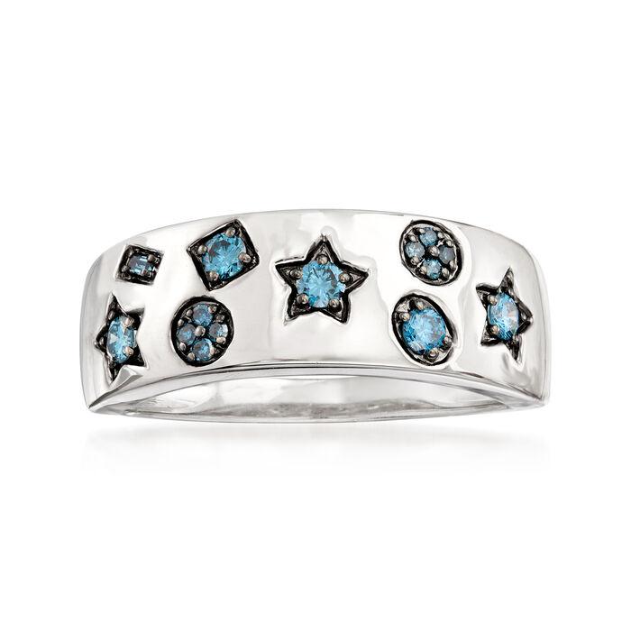 .25 ct. t.w. Blue Diamond Multi-Shape Ring in 14kt White Gold