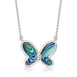 Abalone Shell Butterfly Necklace With Diamond Accents in Sterling Silver, , default