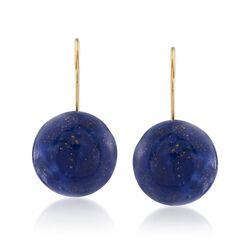 Lapis Button Earrings in 14kt Yellow Gold, , default