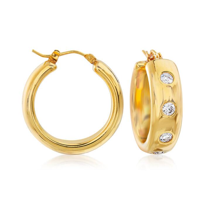 "Italian Andiamo 1.00 ct. t.w. CZ and 14kt Yellow Gold Hoop Earrings. 1"""