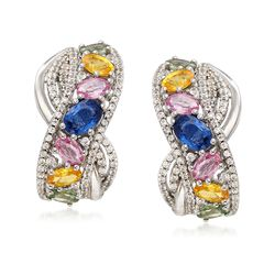 5.20 ct. t.w. Multicolored Sapphire and 2.06 ct. t.w. White Zircon Earrings in Sterling Silver, , default