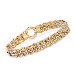 14kt Two-Tone Gold Byzantine Link Bracelet, , default