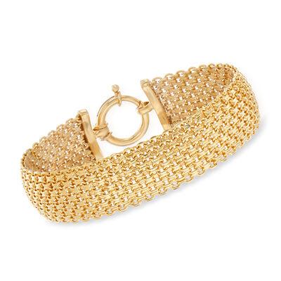 Mesh-Link Bracelet in 18kt Gold Over Sterling, , default