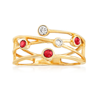 .11 ct. t.w. Diamond and .10 ct. t.w. Ruby Highway Ring in 14kt Yellow Gold, , default