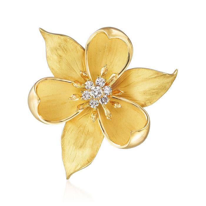 C. 1980 Vintage Tiffany Jewelry .65 ct. t.w. Diamond Magnolia Flower Pin in 18kt Yellow Gold