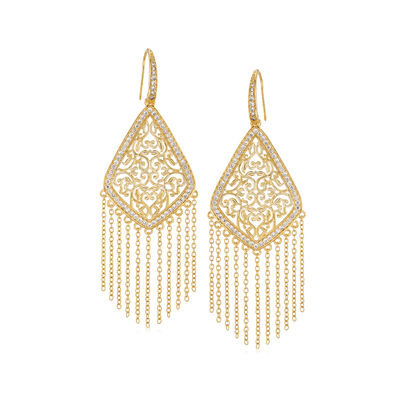 1.13 ct. t.w. CZ Chandelier Fringe Drop Earrings in 18kt Gold Over Sterling, , default