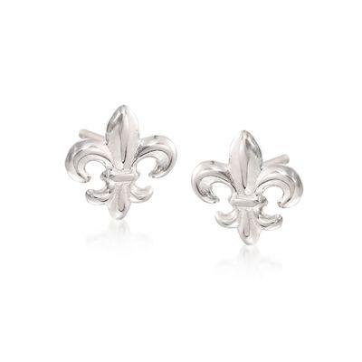 Sterling Silver Fleur-De-Lis Stud Earrings, , default