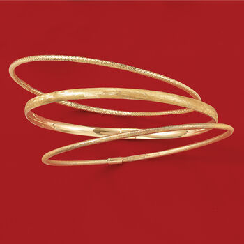Italian 14kt Yellow Gold Jewelry Set: Three Textured Bangle Bracelets. Size 8, , default