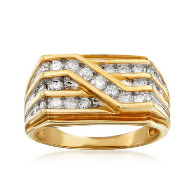 C. 1990 Vintage .75 ct. t.w. Diamond Crossover Ring in 10kt Yellow Gold, , default