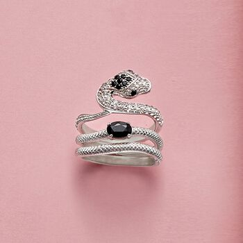 Black Agate and 3.70 ct. t.w. White Topaz Jewelry Set: Three Sterling Silver Snake Rings, , default