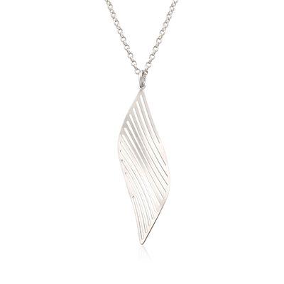 Italian Sterling Silver Leaf Pendant Necklace, , default