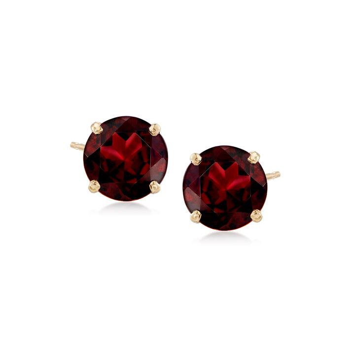 4.30 ct. t.w. Garnet Stud Earrings in 14kt Yellow Gold