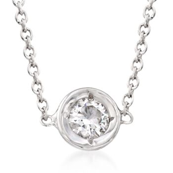 """Roberto Coin .10 Carat Diamond Necklace in 18kt White Gold. 16"""", , default"""