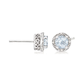 .80 ct. t.w. Round Aquamarine Stud Earrings with Diamond Accents in Sterling Silver, , default