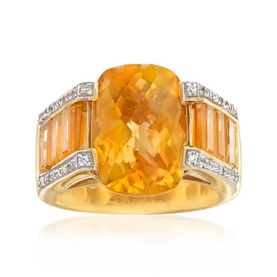 8.65 ct. t.w. Citrine and .40 ct. t.w. White Zircon Ring in 18kt Gold Over Sterling, , default