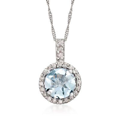 1.20 Carat Aquamarine and .15 ct. t.w. Diamond Pendant Necklace in 14kt White Gold, , default