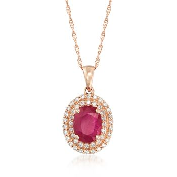 """1.60 Carat Ruby and .30 ct. t.w. Diamond Double Halo Pendant Necklace in 14kt Rose Gold. 18"""", , default"""