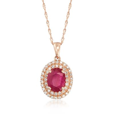 1.60 Carat Ruby and .30 ct. t.w. Diamond Double Halo Pendant Necklace in 14kt Rose Gold, , default