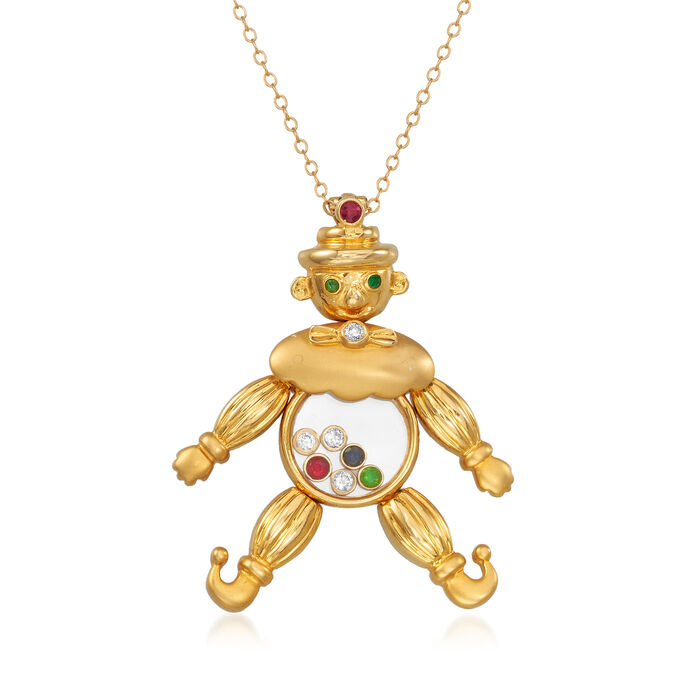 """C. 1980 Vintage .15 ct. t.w. Diamond and .14 ct. t.w. Multi-Gemstone Clown Pendant Necklace in 18kt Yellow Gold. 18"""", , default"""