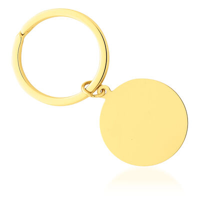14kt Yellow Gold Round Polished Engravable Disc Key Ring, , default