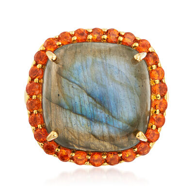 Labradorite and 1.00 ct. t.w. Citrine Ring in 18kt Gold Over Sterling