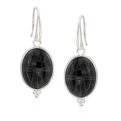 Black Onyx Scarab Drop Earrings, , default