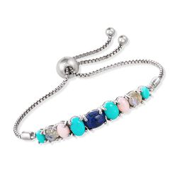 Multi-Stone Bolo Bracelet in Sterling Silver , , default