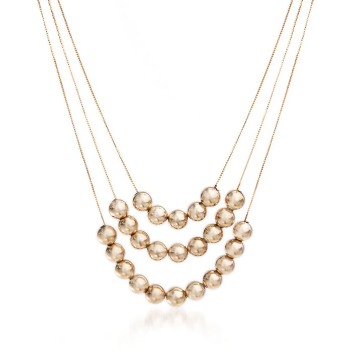 """14kt Yellow Gold Layered Bead Necklace. 20"""", , default"""