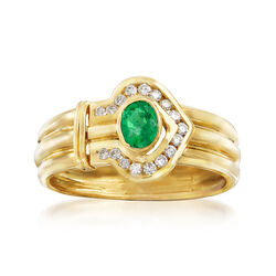 C. 1980 Vintage .35 Carat Emerald and .45 ct. t.w. Diamond Arrow Ring in 18kt Yellow Gold, , default