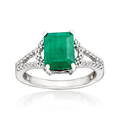 2.10 Carat Emerald and .11 ct. t.w. Diamond Ring in 14kt White Gold, , default