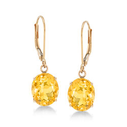 4.80 ct. t.w. Citrine Drop Earrings in 14kt Yellow Gold, , default