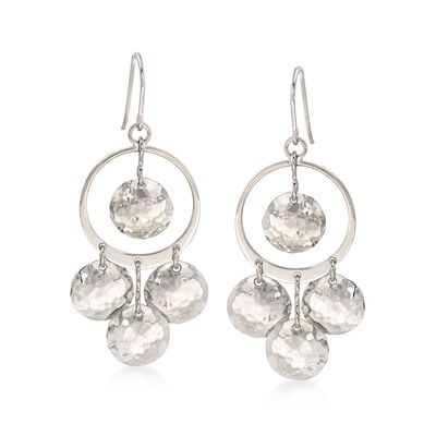 Sterling Silver Multi-Disc Drop Earrings, , default
