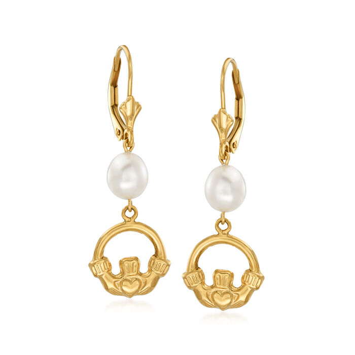 8x6mm Cultured Pearl Claddagh Drop Earrings in 14kt Yellow Gold