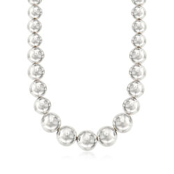 Italian Andiamo Sterling Silver Graduated Bead Necklace, , default