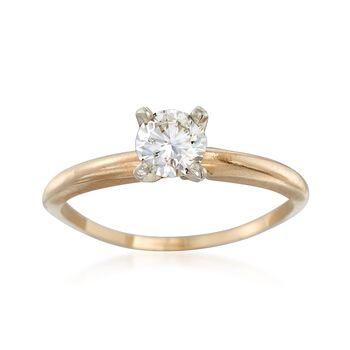 C. 1990 Vintage .45 Carat Diamond Ring in 14kt Yellow Gold. Size 6, , default