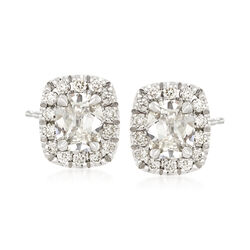 Henri Daussi 1.29 ct. t.w. Diamond Halo Stud Earrings in 18kt White Gold    , , default