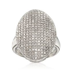1.00 ct. t.w. Pave Oval-Top Ring in Sterling Silver, , default