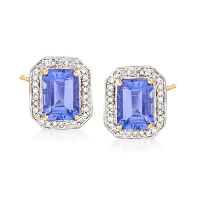 2.70 ct. t.w. Tanzanite and .20 ct. t.w. Diamond Halo Earrings in 14kt Yellow Gold